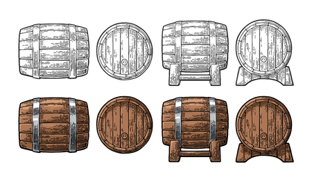 Wooden barrel front and side view. Color and black vintage engraving vector illustration. Isolated on white background