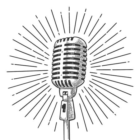 Mikrofon mit Strahl. Gravurillustration des Weinlesevektors Schwarzes für Plakat, Netz. Getrennt auf weißem Hintergrund.