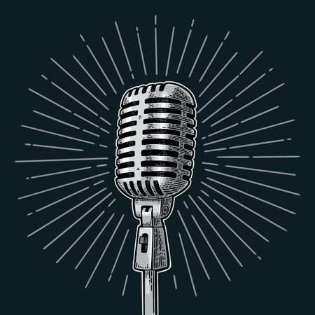 Microphone with ray. Vintage vector color engraving illustration for poster, web. Isolated on white background. Stock Photo