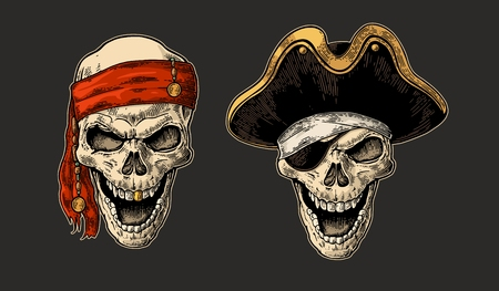 Skull pirate, captain hat, bandana. Color vintage engraving vector illustration. For poster and tattoo biker club. Hand drawn design element isolated on dark background Vettoriali