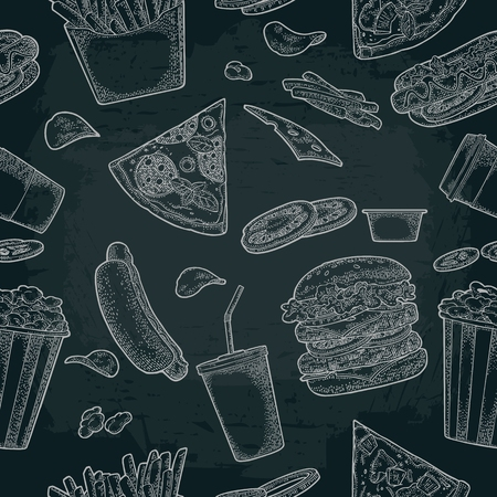 Seamless pattern fast food. Cup cola, coffee, chips, hamburger, pizza, hotdog, fry potato paper box, carton bucket popcorn. Vector vintage color engraving illustration isolated on dark background