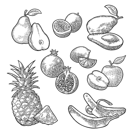 Set tropical fruits. Isolated on the white background. Pineapple, lime, banana, pomegranate, maracuya, avocado. Vector black hand drawn vintage engraving illustration for poster, label and menu.