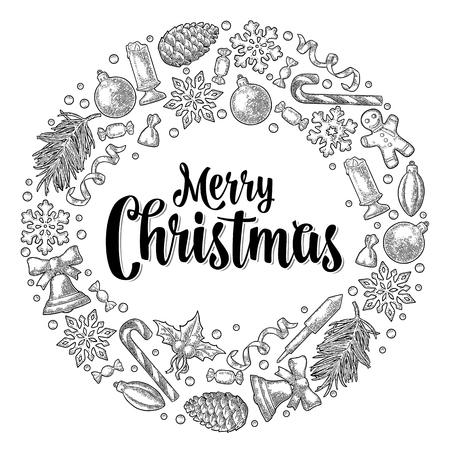 Vintage grey engraving illustration of christmas ornaments wreath.