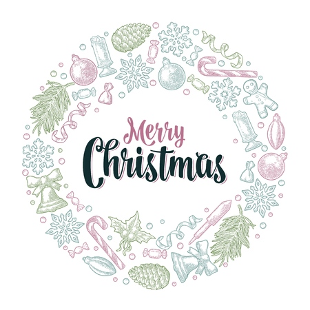 Circle shape set for Merry Christmas. Gingerbread, candy, mistletoe, bell, serpentine, rocket, snowflake, pine cone, fir branch, toy. Vector vintage color engraving on white background Çizim