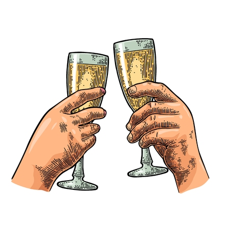 Female and male hands holding and clinking two glasses champagne. Vintage vector color engraving illustration on white background