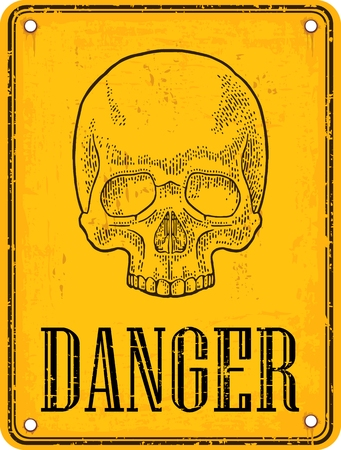Skull on sign danger. Black vintage vector illustration. For poster and tattoo. Hand drawn design element isolated on yellow background Illustration