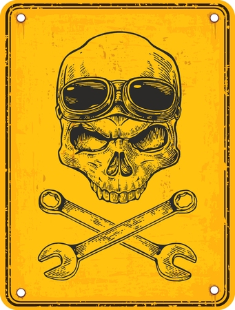 Skull with glasses for motorcycle on forehead and wrench. Black vintage vector illustration. For poster and tattoo biker club. Hand drawn design element isolated on yellow sign danger