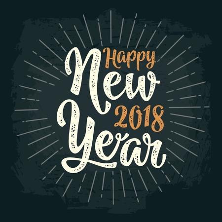 新年おめでとう2018書道の文字と敬礼。グリーティングカード、ポスター、フレイヤー、ウェブ、バナーのための暗い背景にベクトルヴィンテージイ