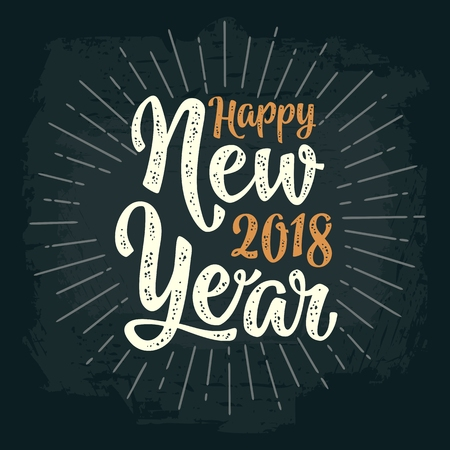 Happy New Year 2018 calligraphy lettering with salute. Vector vintage illustration on dark background for greeting card, poster, flayer, web, banner