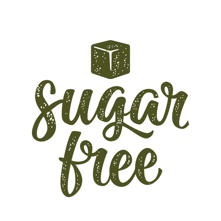 Sugar free lettering with cube. Vector dark green vintage illustration isolated on white background. 일러스트