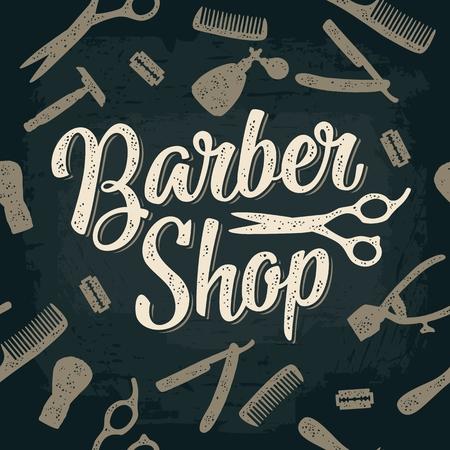 Outil de configuration de modèle sans couture pour BarberShop avec peigne, rasoir, blaireau, ciseaux et vaporisateur de bouteille. Vector dessinés à la main vintage gravure pour affiche, étiquette, bannière, web. Isolé sur fond sombre Banque d'images - 91583271