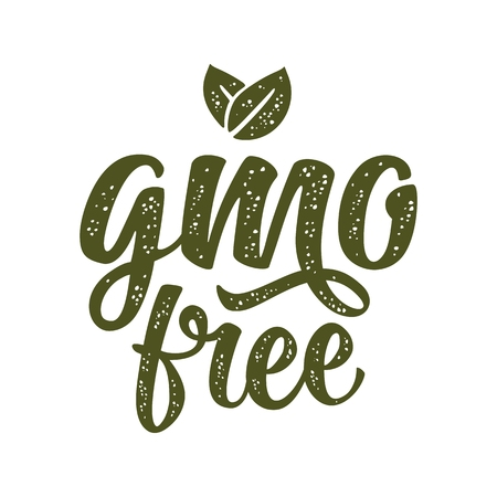 GMO free lettering with leaf. Vector dark green vintage illustration, isolated on white background.