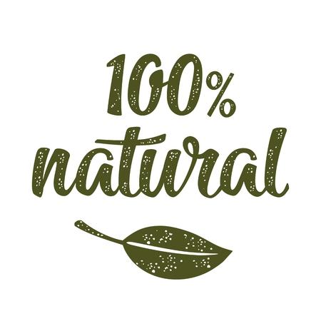 100% natuurlijke belettering met blad. Vector donkergroene vintage illustratie geïsoleerd op een witte achtergrond. Stock Illustratie