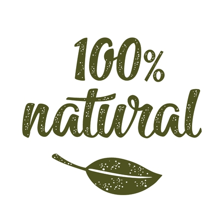 100% natural lettering with leaf. Vector dark green vintage illustration isolated on white background.