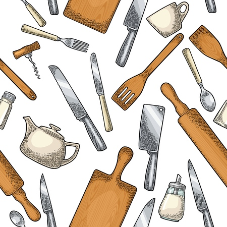 Seamless pattern Kitchen utensils. Wood cutting board, spade of frying pan, corkscrew, knifes, sugar and salt shakers. Vector color vintage engraving illustration isolated on white for menu, poster Ilustração