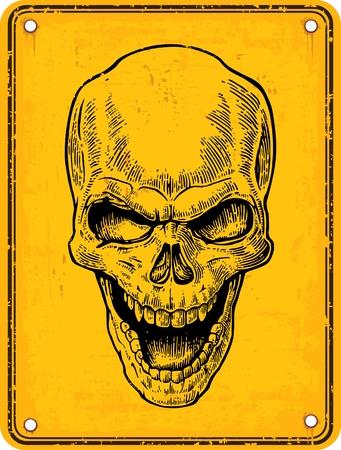기호 위험에 두개골입니다. 블랙 빈티지 벡터 일러스트 레이 션. 포스터와 문신 들어. 손으로 그린 디자인 요소 노란색 배경에 고립 된