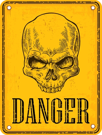 Skull on sign danger. Black vintage vector illustration. For poster and tattoo. Hand drawn design element isolated on yellow background Фото со стока - 91754180