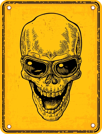 Skull smiling with glasses for motorcycle on sign danger. Black vintage engraving vector illustration. For poster and tattoo. Hand drawn design element isolated on yellow background