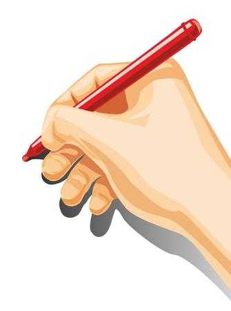 남성 손을 잡고 펜을 느꼈다. 일러스트