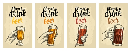 Male and female hands holding a glass with four types beer - light, white, red and dark. Vintage vector engraving illustration for web, poster, invitation to party. Isolated on beige background Иллюстрация