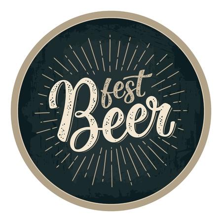 Fest Bier kalligrafische letters met stralen. Stockfoto - 91966280
