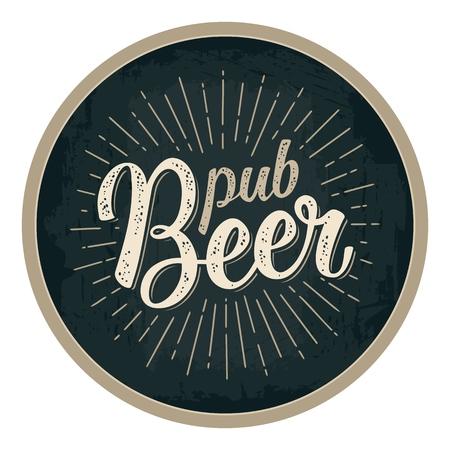 Pub Bier kalligrafische letters met stralen. Reclameontwerp voor kustvaarder. Vector uitstekende gravureillustratie op donkere cirkel