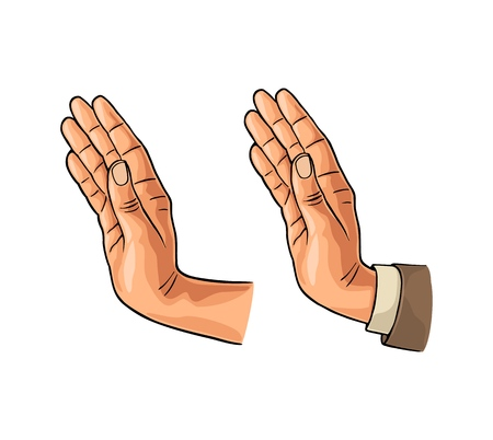 Hand showing stop gesture in sleeve suit and without. Vector color flat illustration isolated on a white background. For web, poster, info graphic. Illustration