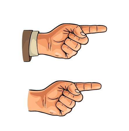 Pointing finger. Male hand in sleeve suit and without. Vector color flat illustration isolated on a white background. Hand sign for web, poster, info graphic Vectores