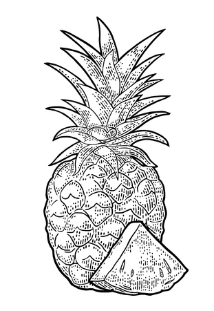 Whole and slice pineapple. Vector black vintage engraving illustration for menu, poster. Isolated on white background