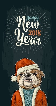 Dog Santa claus in hat, coat, sweater. Happy New Year 2018 calligraphy lettering with salute. Vintage color engraving illustration for vertical poster. Isolated on white background