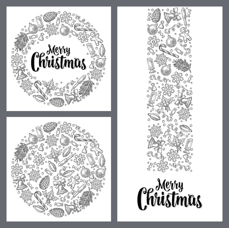 Template for greeting card. Merry Christmas lettering.