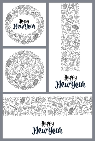 Template for greeting card. Happy New Year lettering. Stockfoto