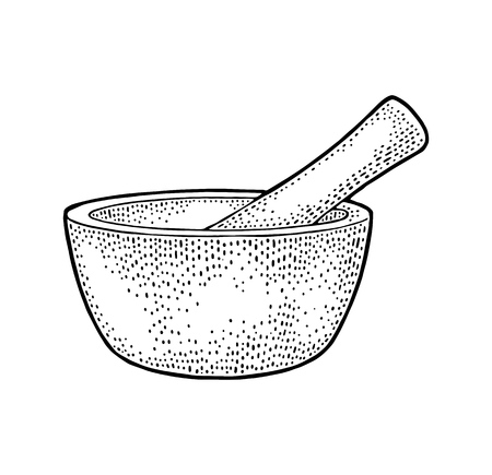 Mortar and Pestle. Vintage vector engraving illustration. Isolated on white background Vettoriali