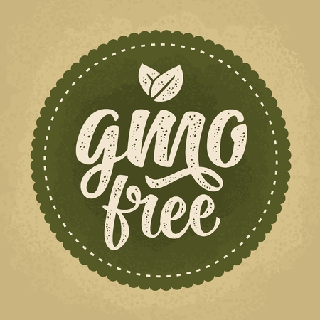 GMO free lettering with leaf in beige vintage illustration isolated on dark green circle sticker. Illusztráció
