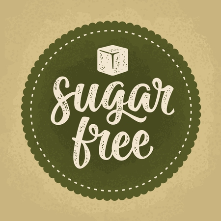 Sugar free lettering with cube in beige vintage illustration isolated on dark green circle sticker.