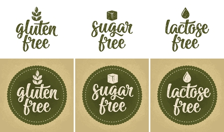 Signs lactose, sugar, gluten free lettering. Drop, leaf, cube vector  in beige vintage illustration isolated on dark green circle sticker.