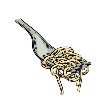 フォークにスパゲッティ。ヴィンテージ色は、白い背景で隔離の図の彫刻します。