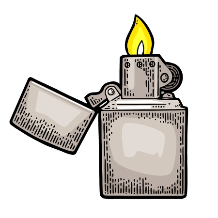 Lighter open. Vector vintage engraved black illustration isolated on white background.