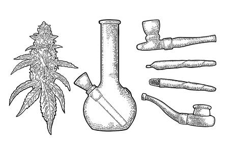 Cigarettes, pipe, buds cannabis. Hand drawn design element. Vintage black vector engraving illustration for label, poster, web. Isolated on white background Vettoriali