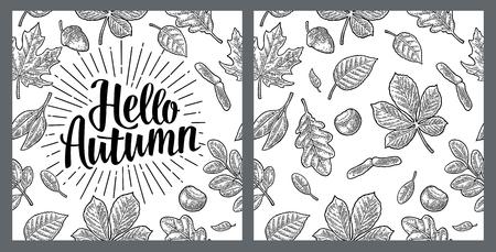 원활한 패턴 leafs, 도토리, 밤나무와 씨앗. 안녕하세요 가을 레터링.