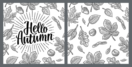 Seamless pattern leafs, acorn, chestnut and seed. Hello Autumn lettering. Stock Vector - 92985903