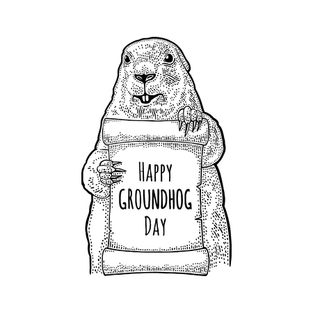 Marmot holding poster. Happy Groundhog Day letterung. Engraving vintage vector black illustration. Isolated on white background. Hand drawn design element for label and poster Illustration