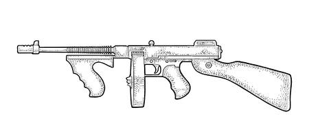 Broń automatyczna gangsterów Tommy gun. Grawerowanie vintage