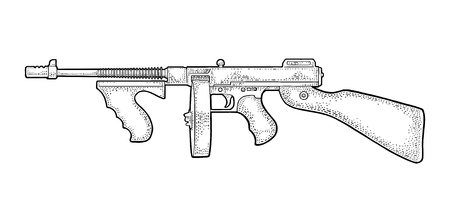 Gangsters automatic weapon Tommy gun. Engraving vintage