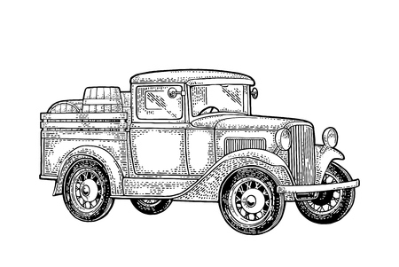 Retro pickup truck with wood barrel. Side view. Vintage black engraving illustration for poster, web. Isolated on white background.