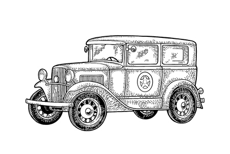 Retro police car sedan with sheriff star. Side view. Vintage black engraving illustration for poster, web. Isolated on white background. Hand drawn design element for label and poster  イラスト・ベクター素材