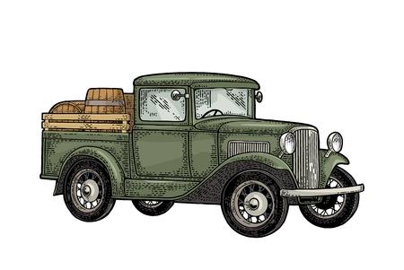 Camionete retro com tambor de madeira. Vista lateral. Ilustração de gravura cor vintage para cartaz, web. Isolado no fundo branco. Elemento de design desenhado de mão para rótulo e pôster