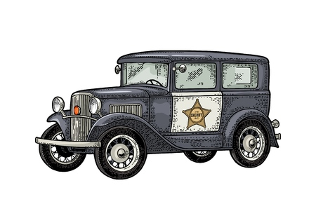 Retro police car sedan with sheriff star. Vintage color engraving Çizim