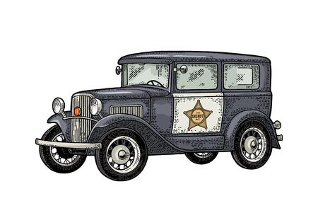 Retro politiewagensedan met sheriffster. Vintage kleurengravure