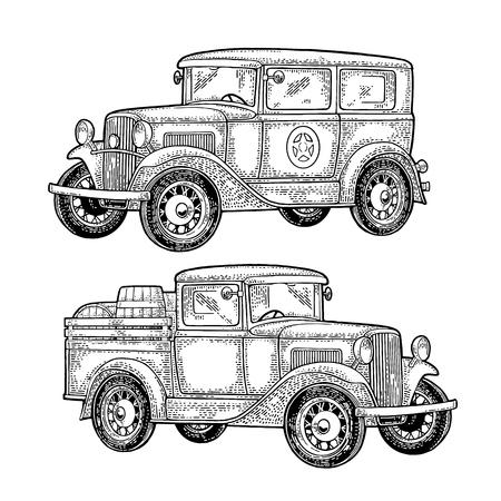 Retro politiewagensedan met sheriffster en pick-up met houten vat. Zijaanzicht. Vintage zwarte gravure illustratie voor poster, web. Geïsoleerd op witte achtergrond Hand getekend ontwerpelement